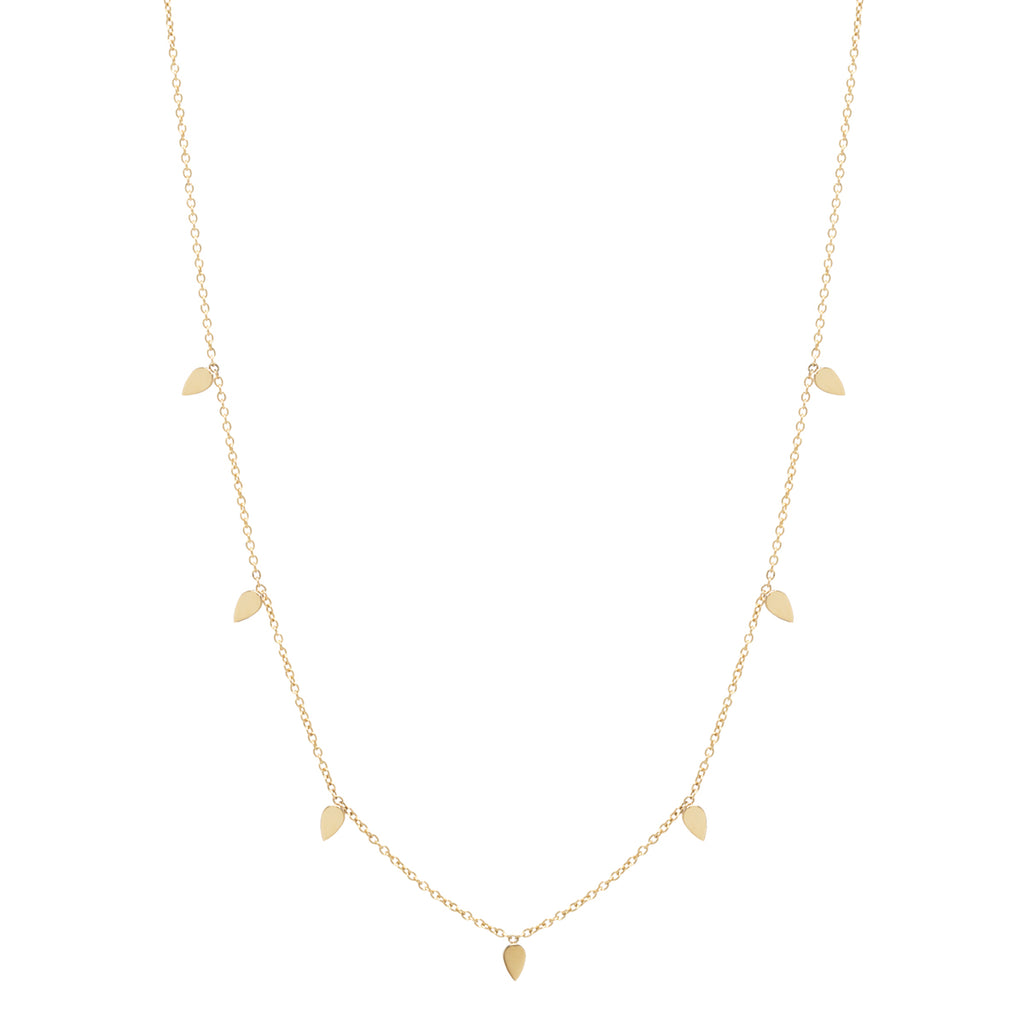 Zoë Chicco 14kt Yellow Gold 7 Itty Bitty Tear Long Station Necklace