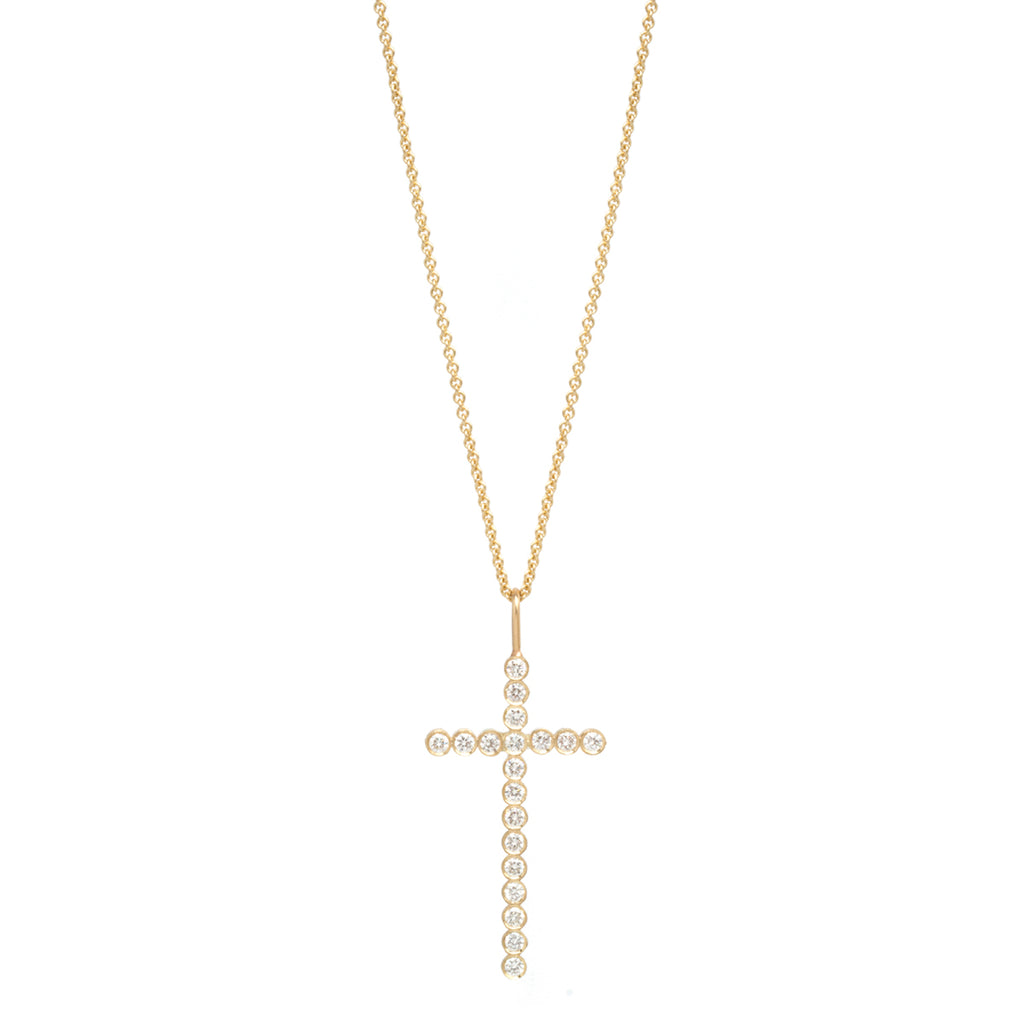 14k gold large bezel set diamond cross necklace