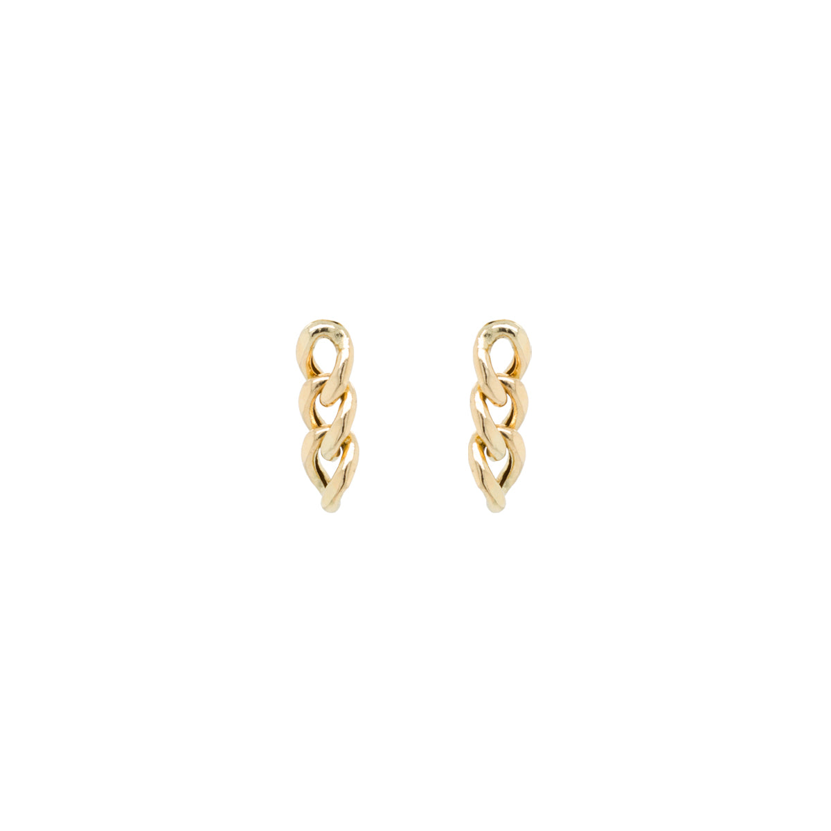 14k large curb chain drop earrings