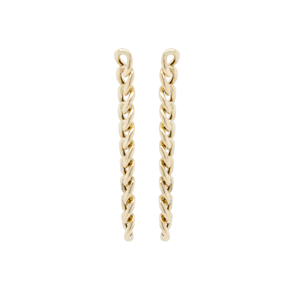 14k large curb chain link drop earrings