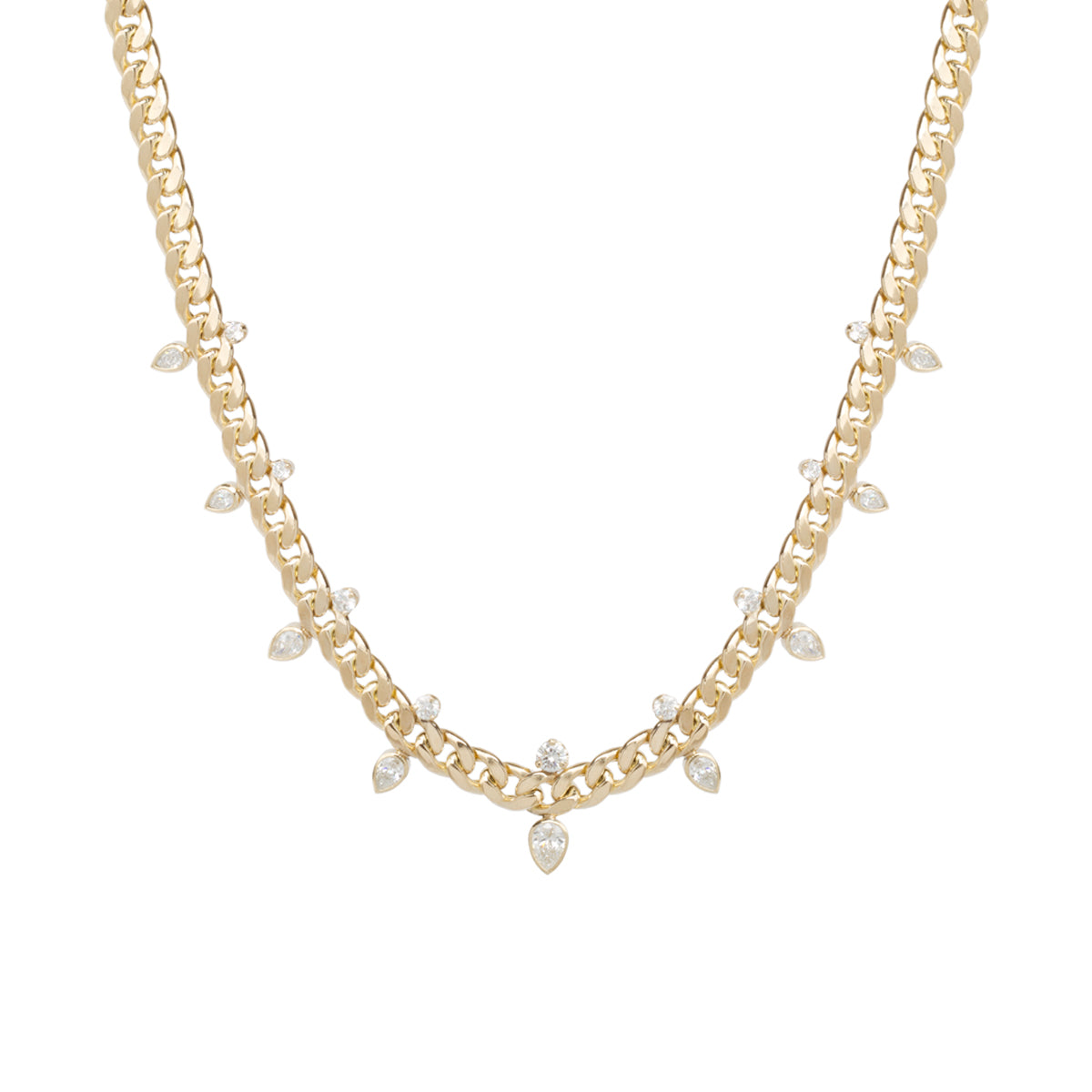 14k gold large curb chain necklace with prong and pear diamonds
