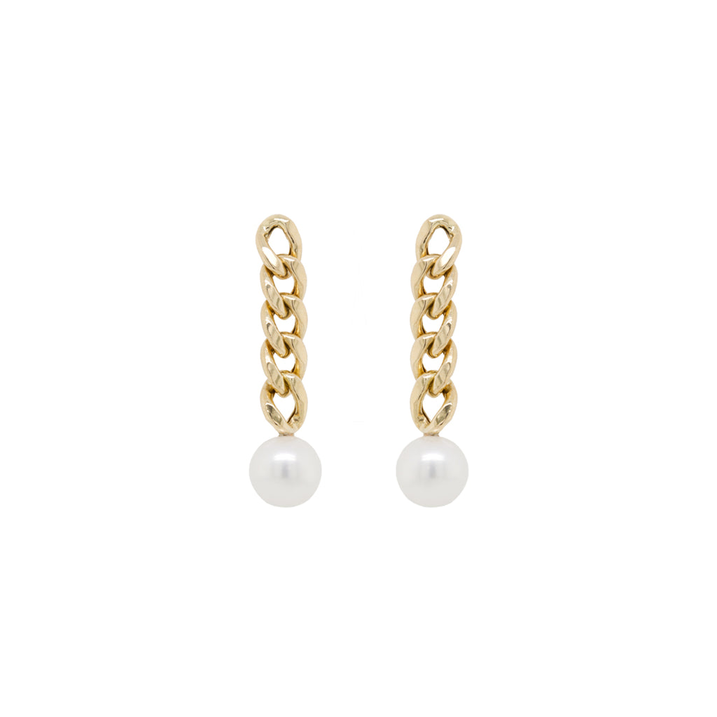 14k large curb chain pearl drop earrings