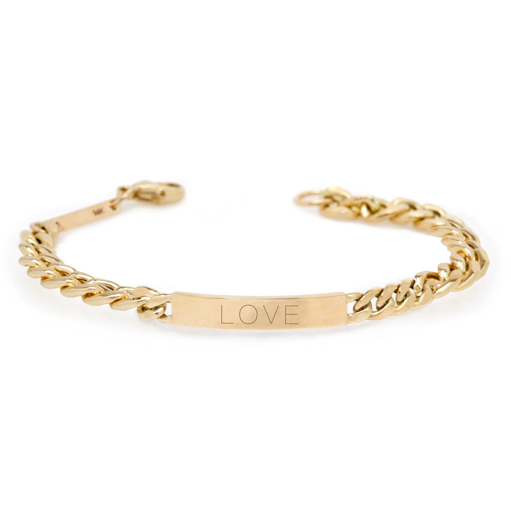 14k engraved large curb chain ID bracelet