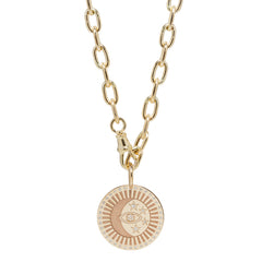 14k large diamond celestial protection medallion with oval chain necklace