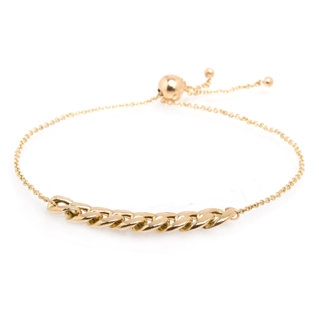 14k large curb chain station bolo bracelet