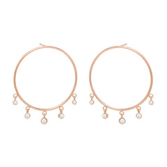 Zoë Chicco 14kt Rose Gold Large Front Circle Hoop Earrings with Graduated Dangling Opals