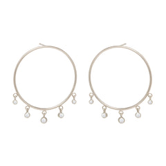 Zoë Chicco 14kt White Gold Large Front Circle Hoop Earrings with Graduated Dangling Opals