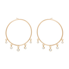 Zoë Chicco 14kt Yellow Gold Large Front Circle Hoop Earrings with Graduated Dangling Opals