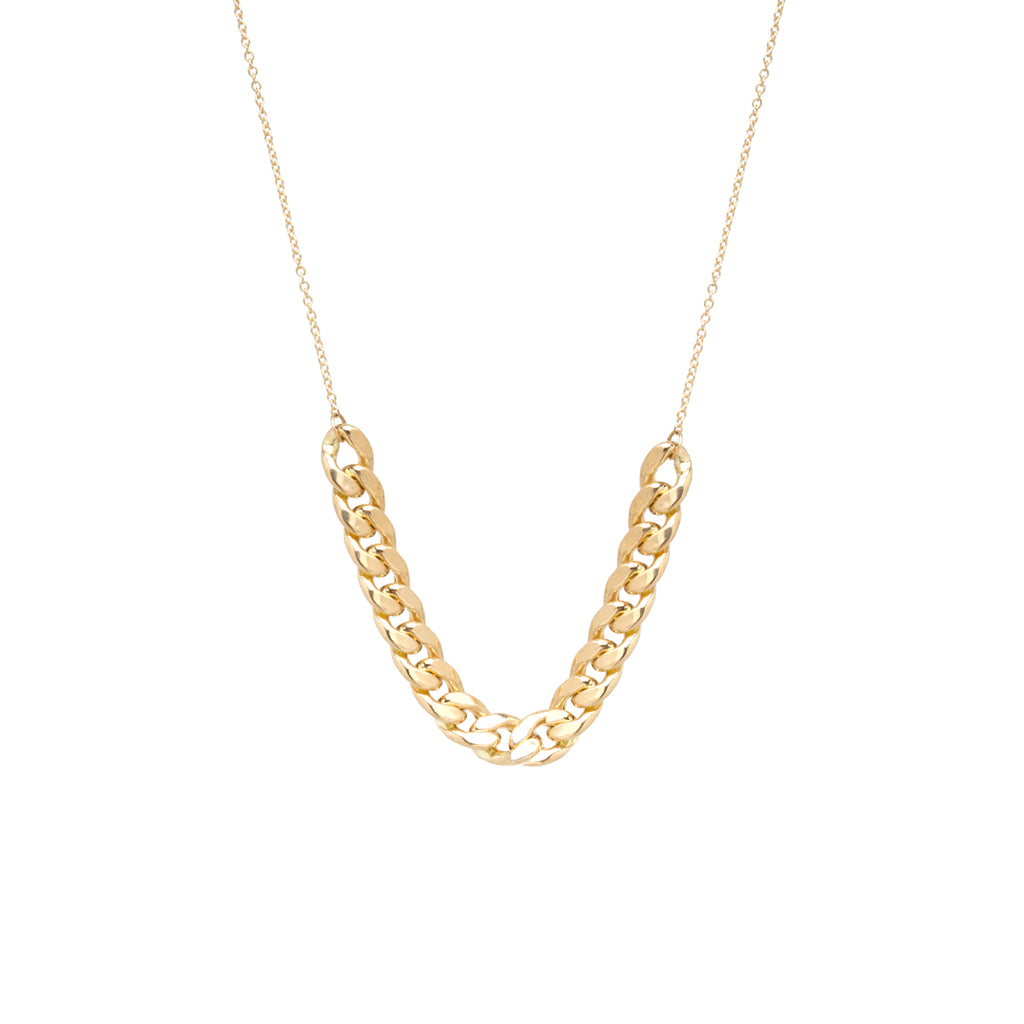 14k gold large curb chain station necklace