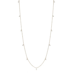 14k long 11 dangling diamond necklace