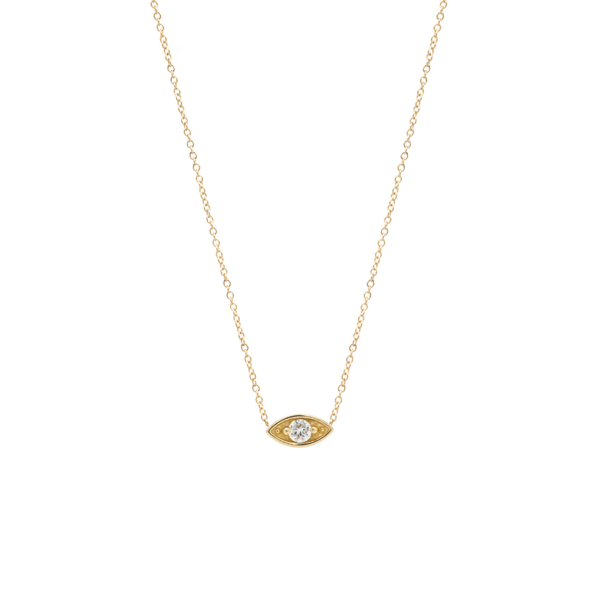 14k large eye necklace
