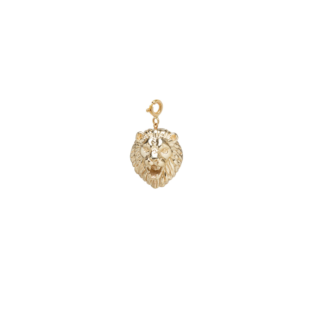 14k lion head charm on spring ring