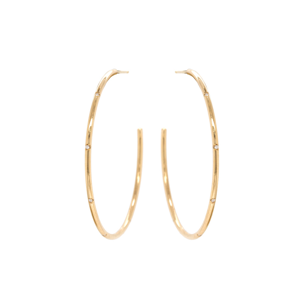 14k large wire hoops with 5 bead set diamonds