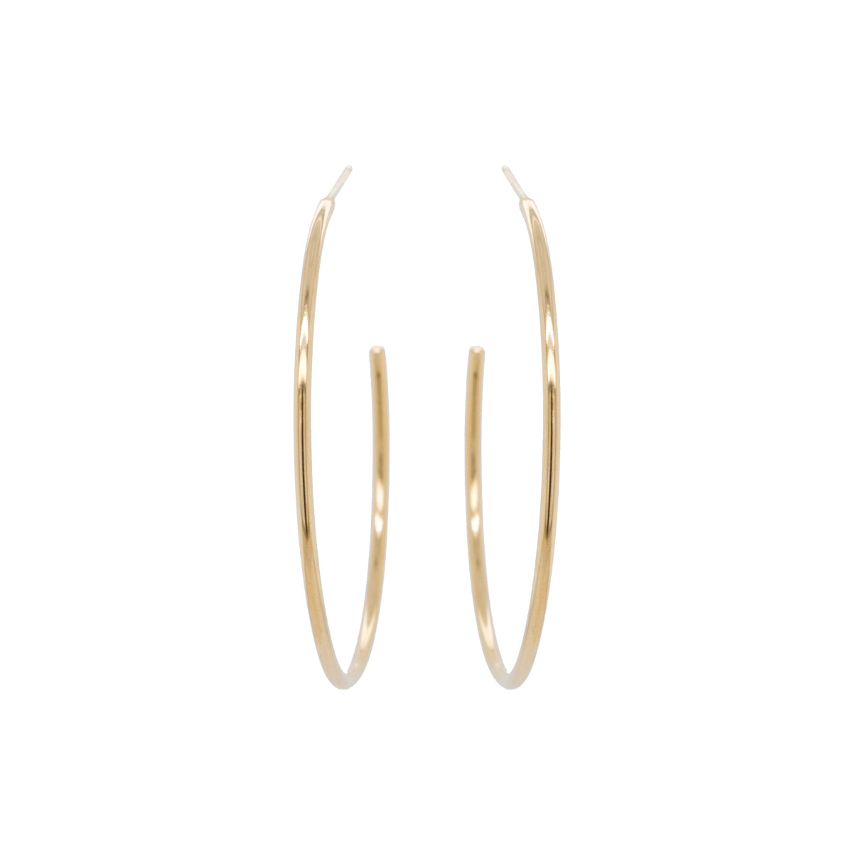 14k large thick wire hoops
