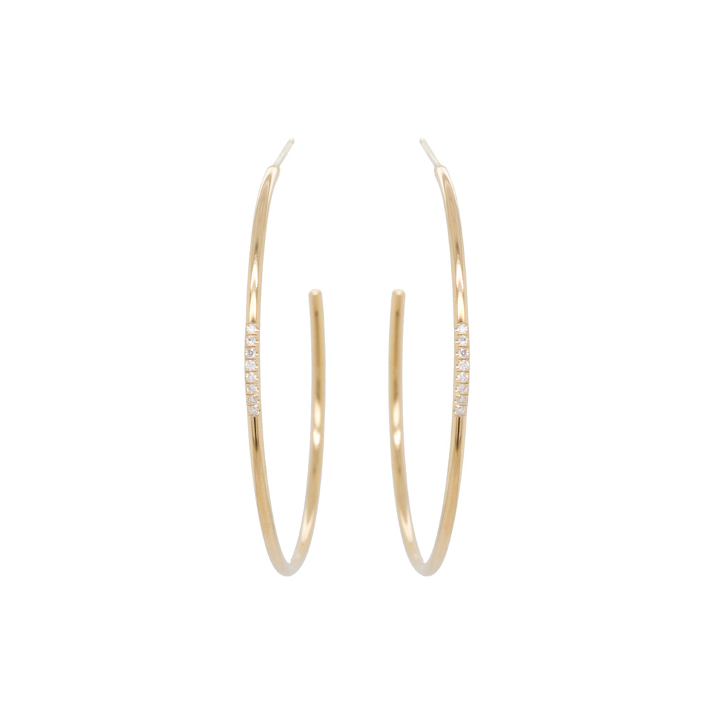 14k large pave diamond thick wire hoops