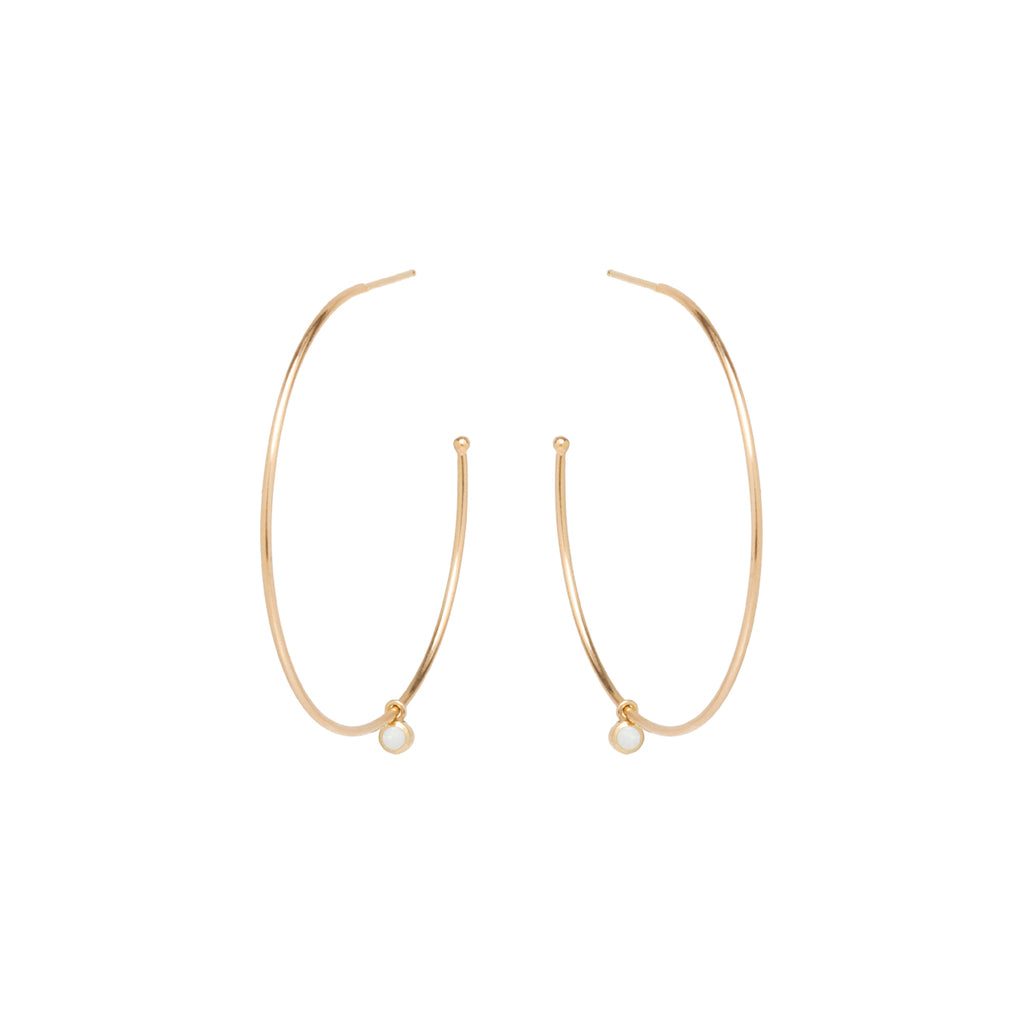 Zoë Chicco 14kt Yellow Gold Dangling Opal Large Hoop Earrings