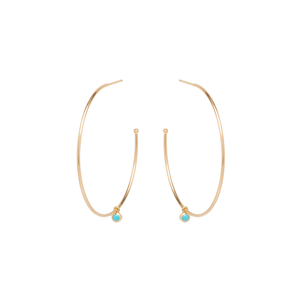 14k dangling turquoise large hoops