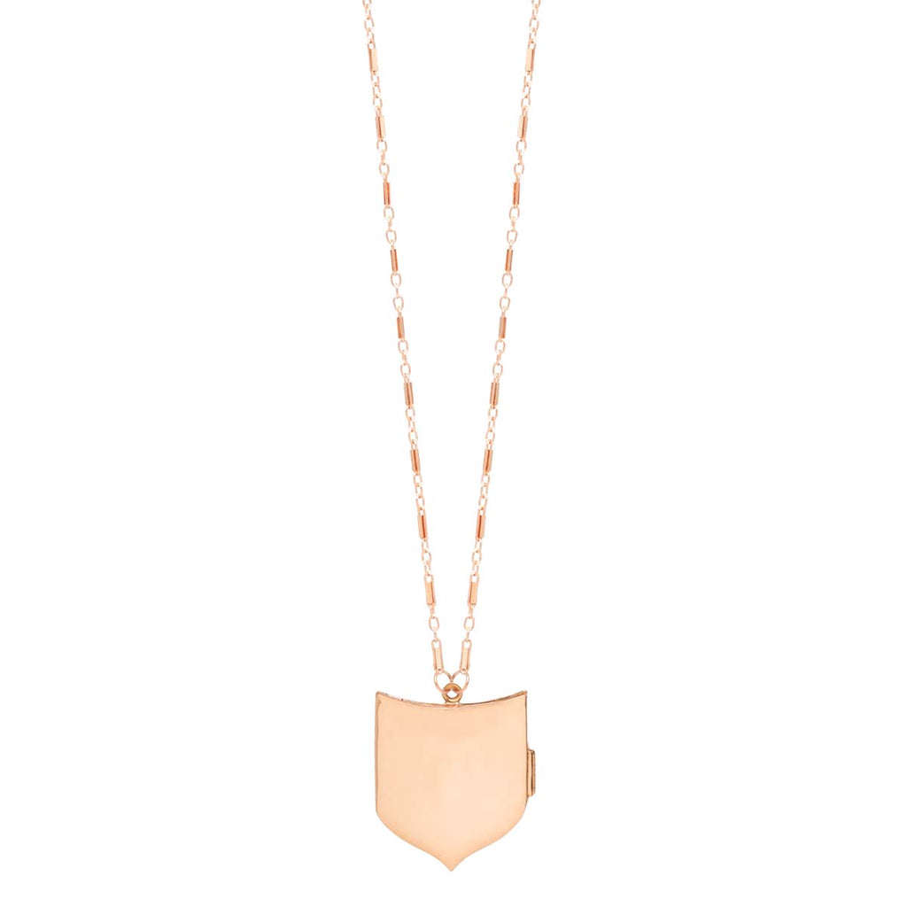 14k gold shield locket necklace
