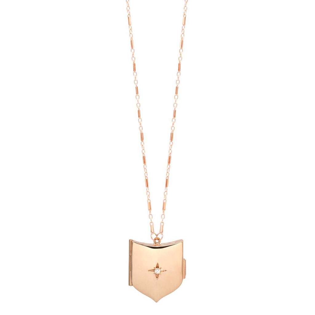 14k gold diamond shield locket necklace