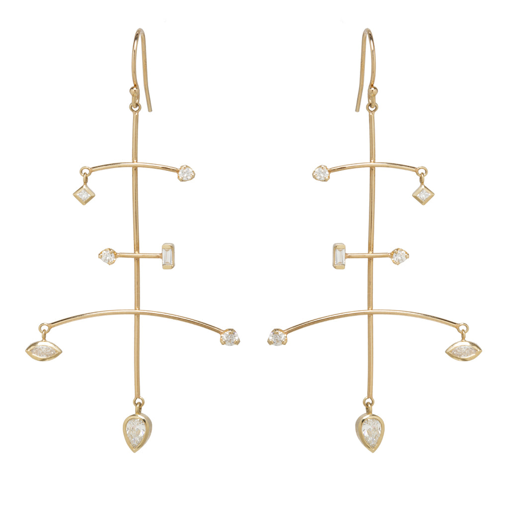 14k large mixed diamond mobile earrings