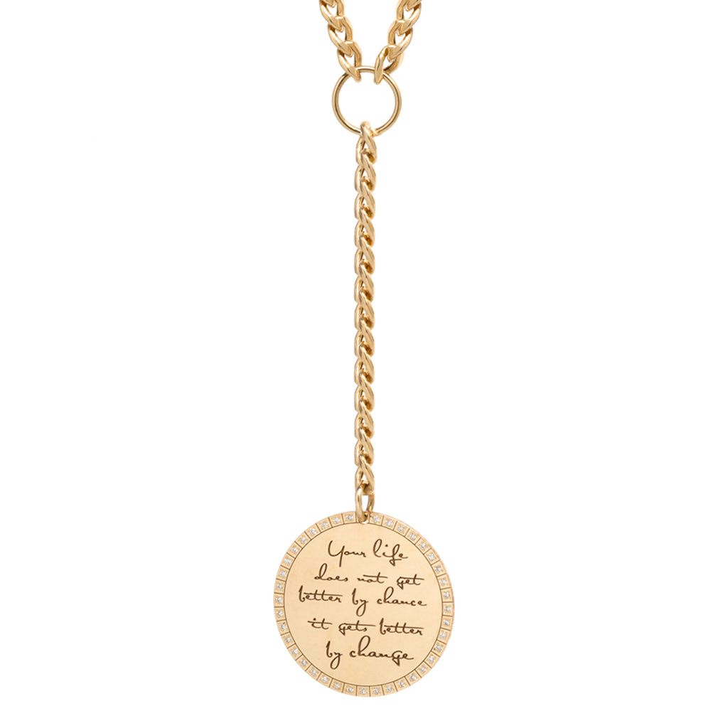 14k large mantra lariat necklace on medum curb chain