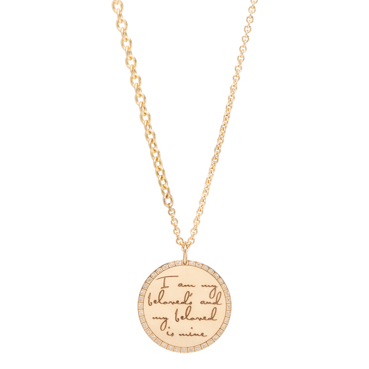 14k large mantra necklace on continuous chain