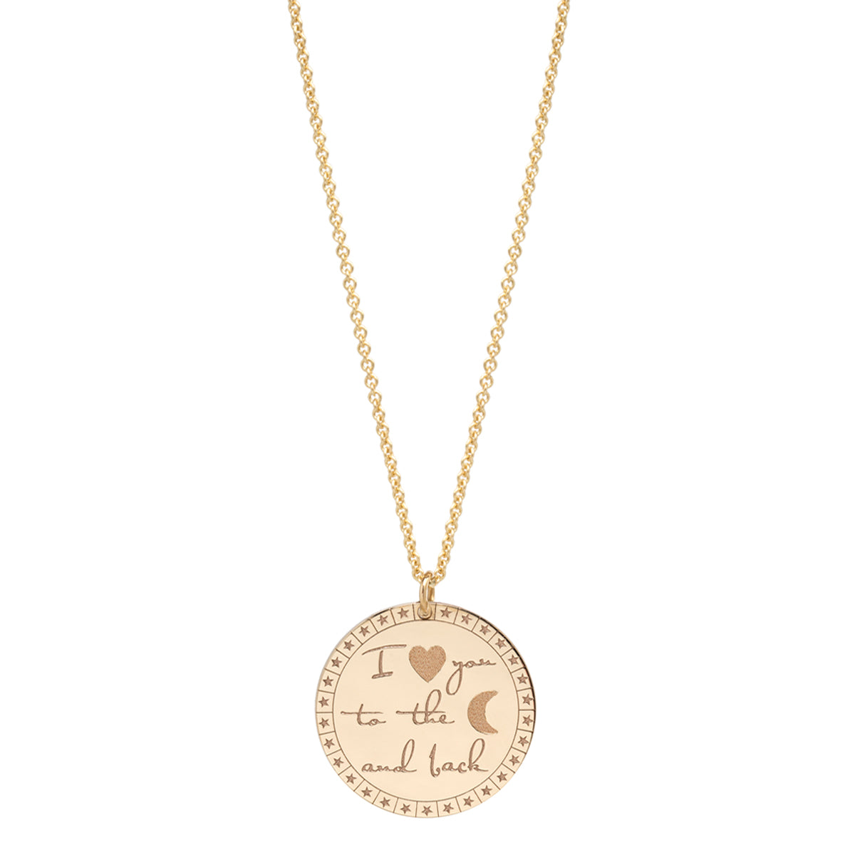 "14k large ""I love you to the moon & back"" mantra necklace"