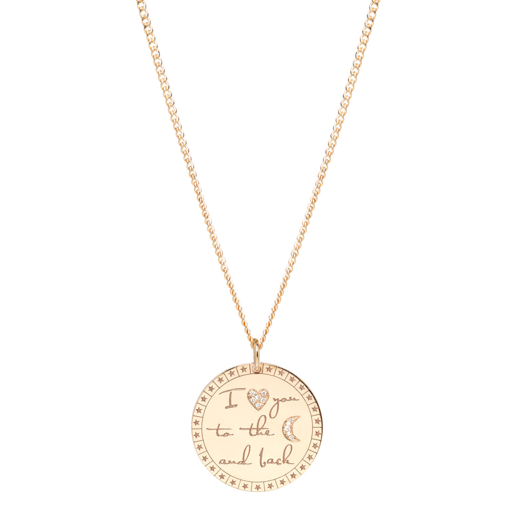 "14k large ""I love you to the moon & back"" mantra XS curb chain necklace"