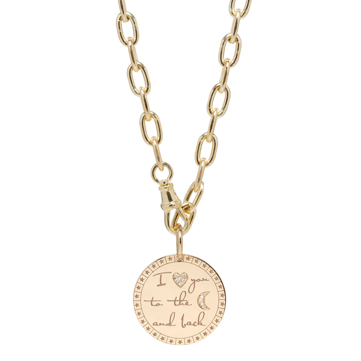 "14k large pave diamond ""I love you to the moon & back"" mantra necklace on extra large oval chain"