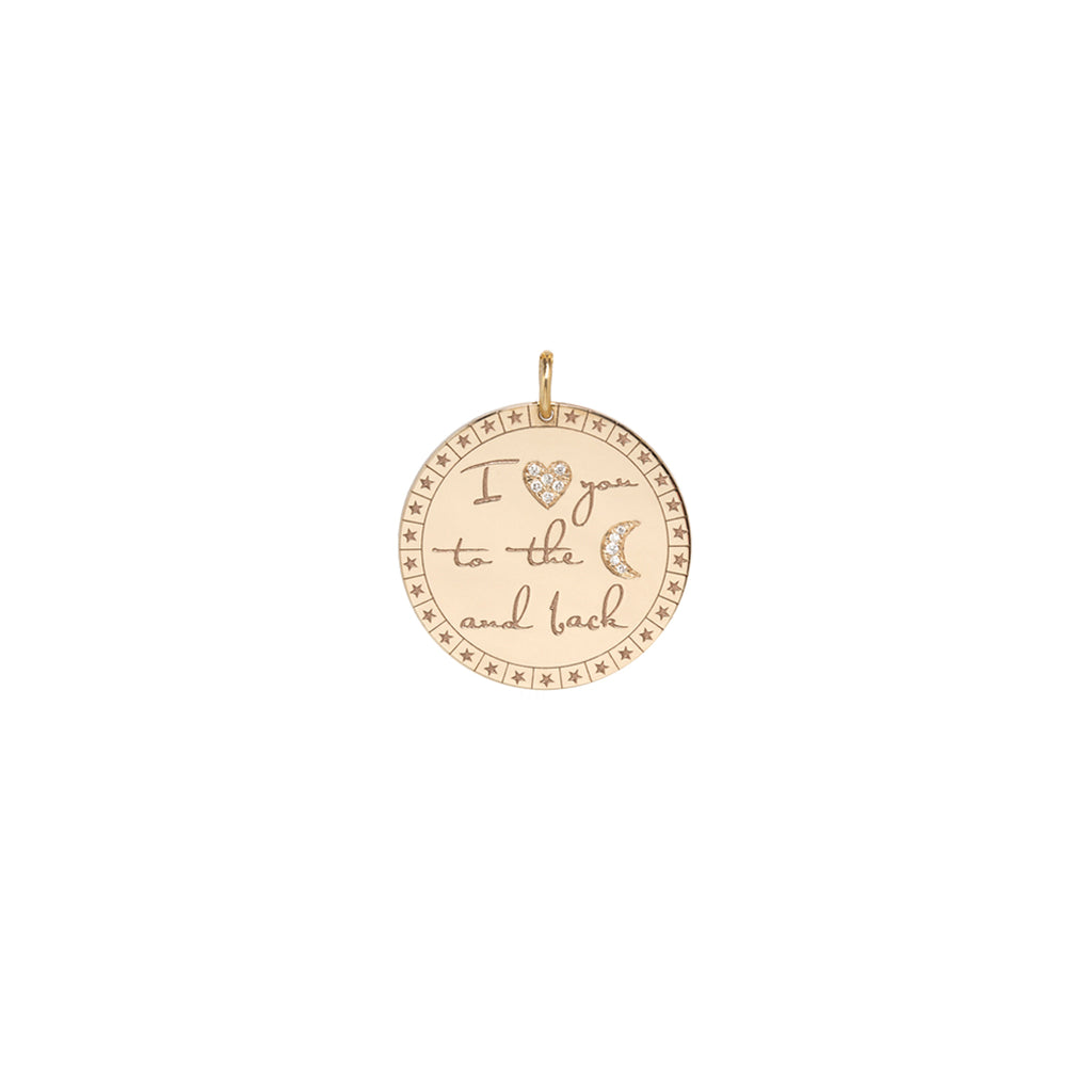 "14k large pave diamond mantra ""I love you to the moon & back"" charm"