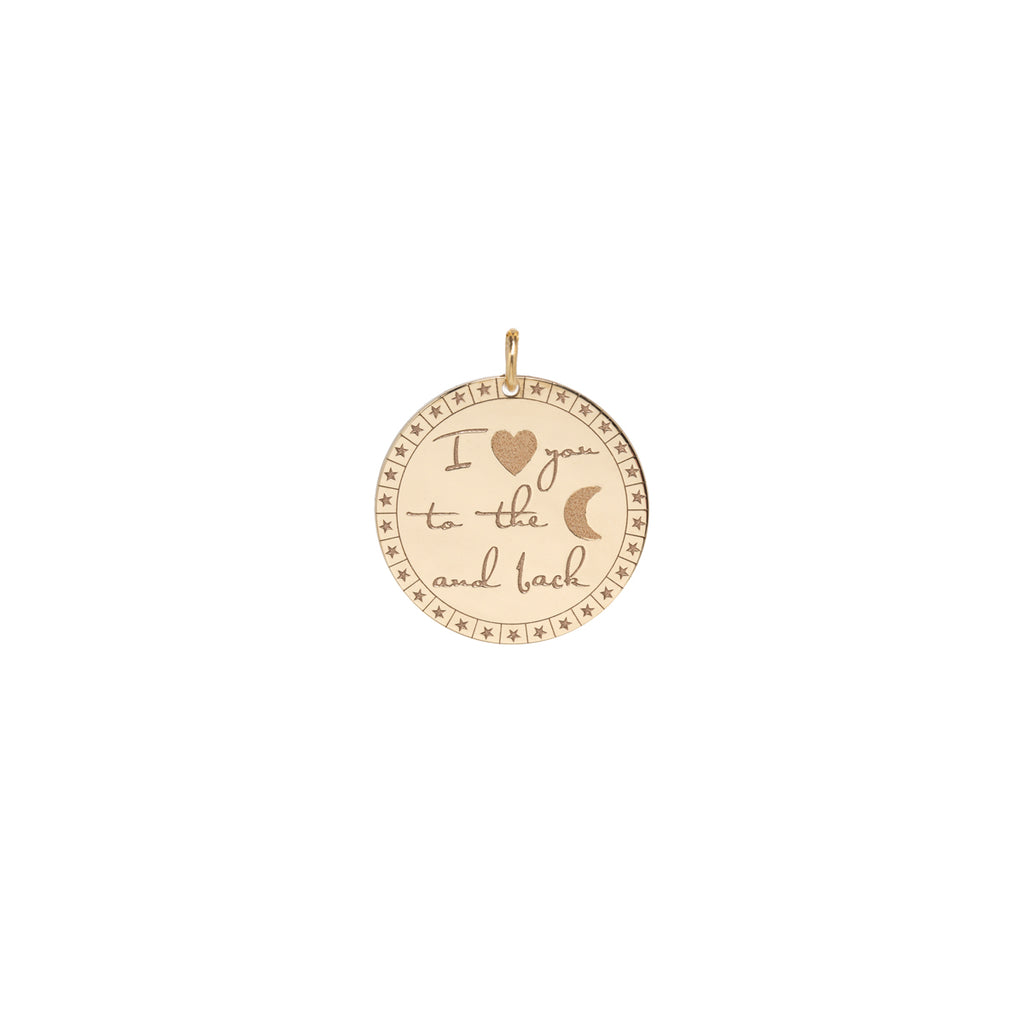 "14k large mantra ""I love you to the moon & back"" charm"