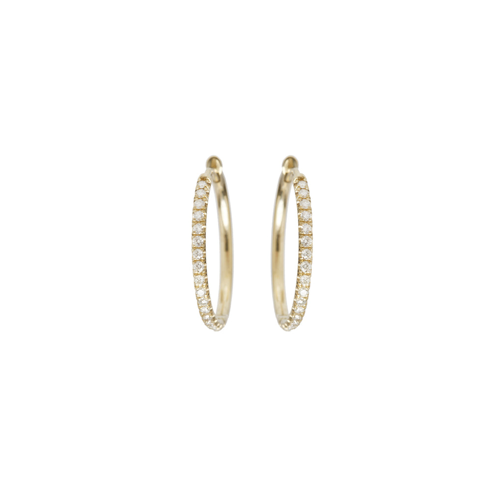 14k large pave diamond huggie hoops