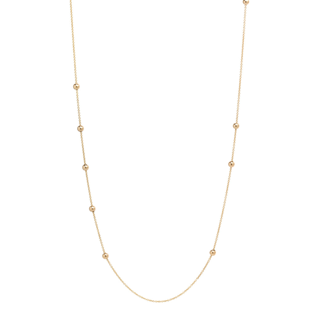 14k long chain necklace with 10 adjustable beads