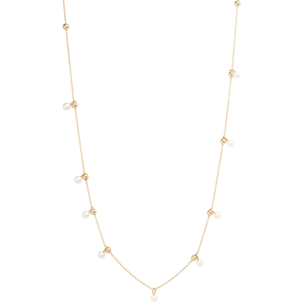 14k adjustable bead and pearl necklace