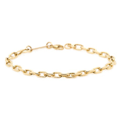 14k large square oval chain bracelet