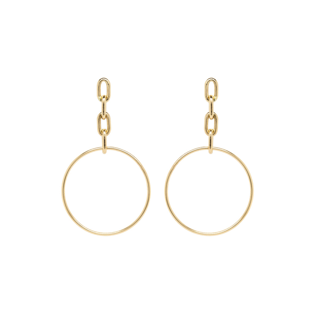 14k large square oval chain drop hoop earrings