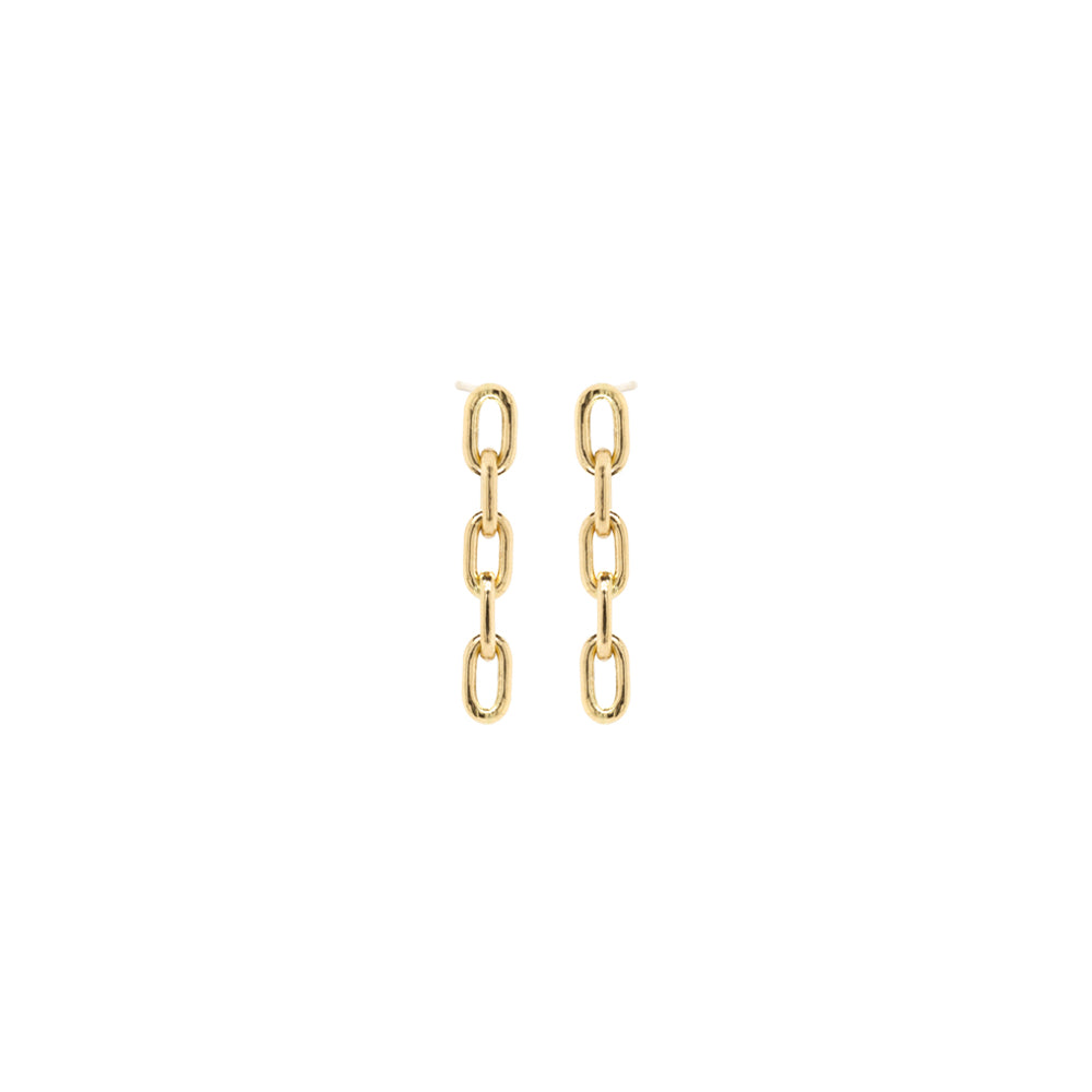 14k short large square oval link drop earrings