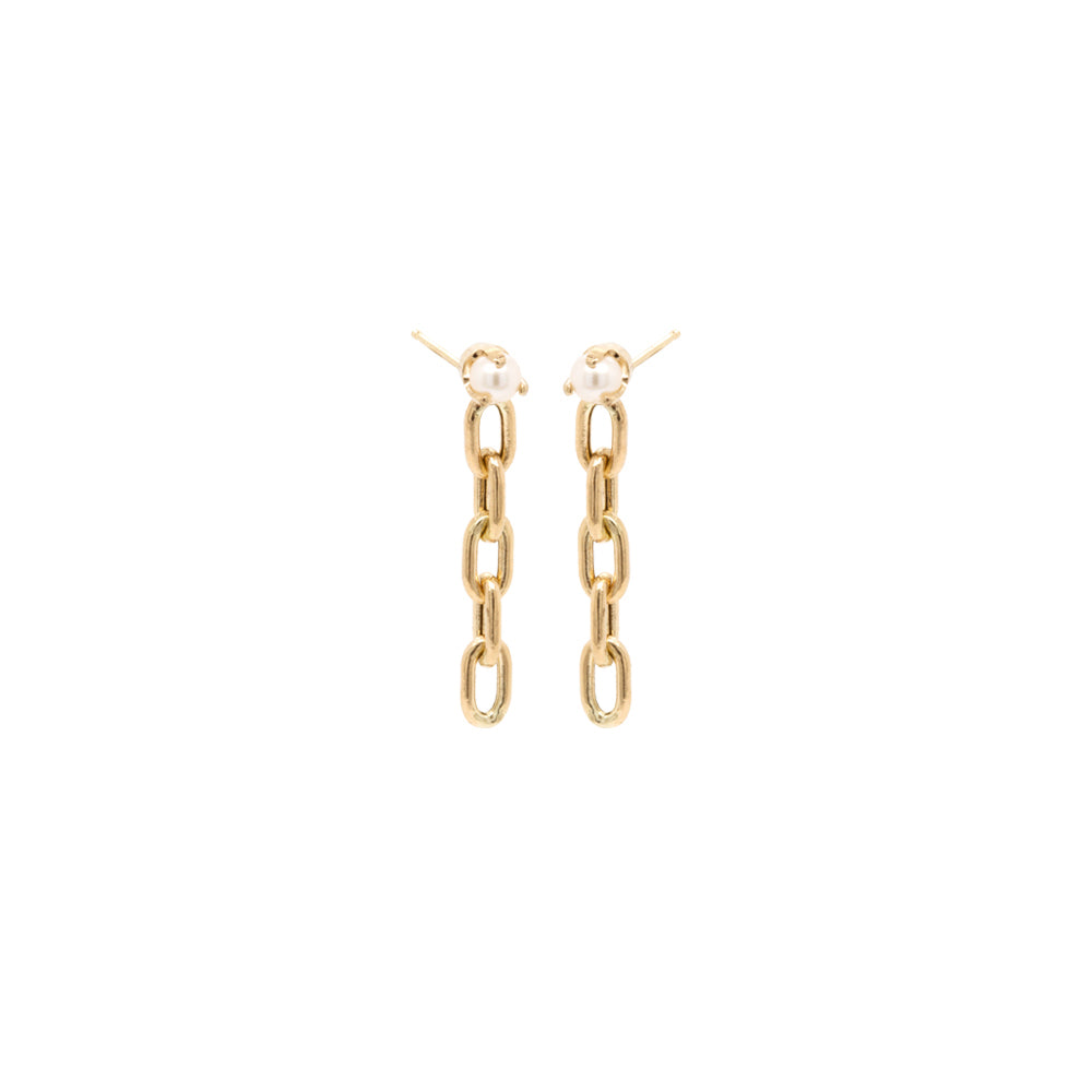 14k tiny pearl square oval link short drop earrings