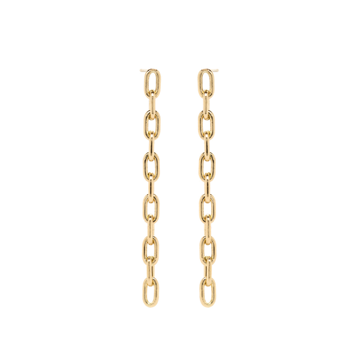 14k long large square oval link drop earrings