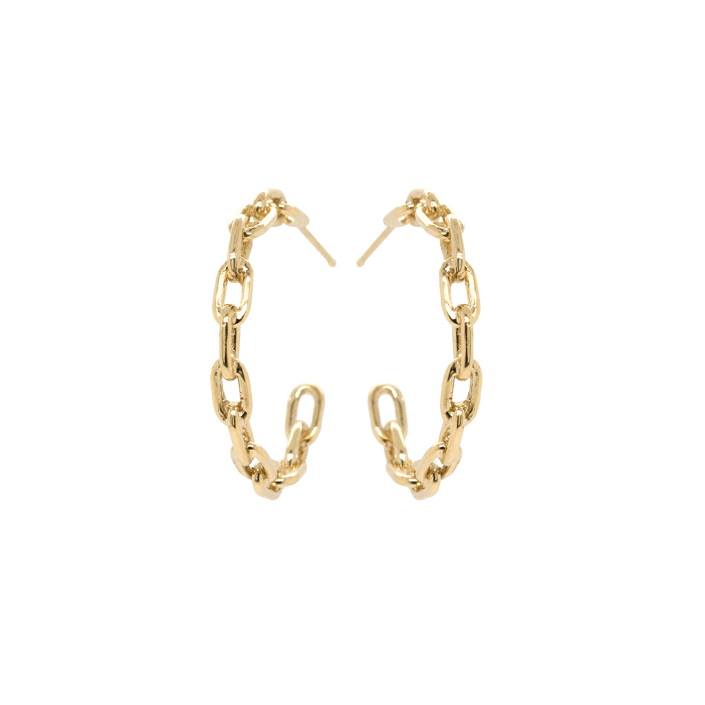 14k large square oval link hoops