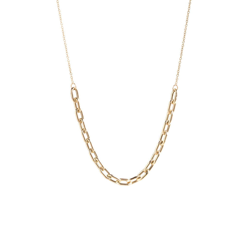 14k gold large square oval link station necklace