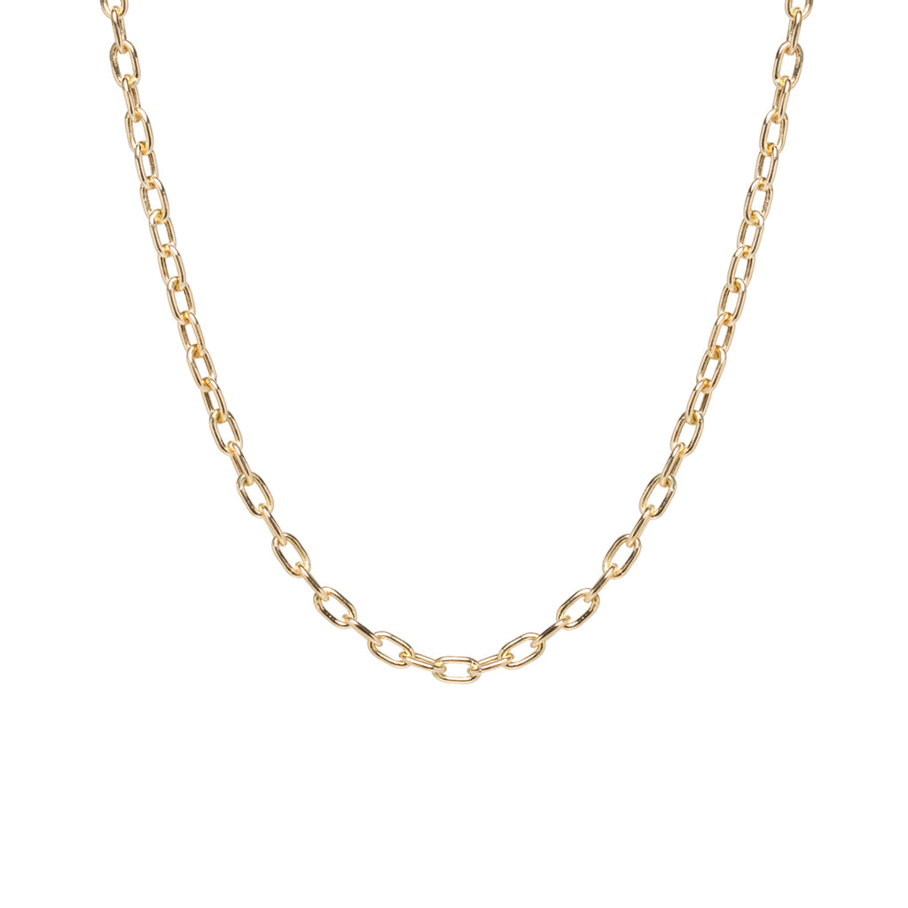 14k gold large square oval link chain necklace