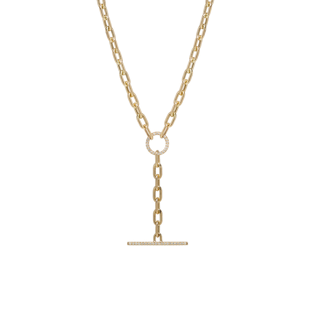 14k gold large square oval link chain pave diamond faux toggle