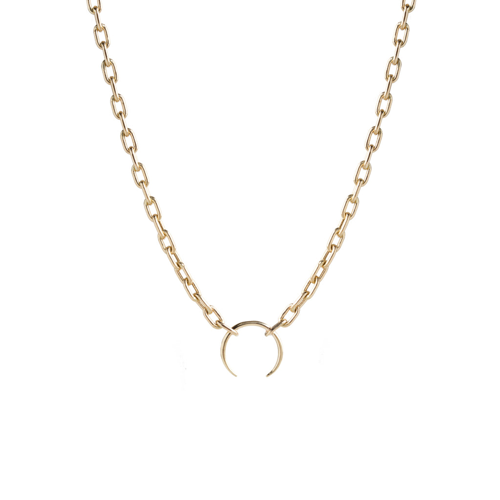 14k gold large square oval link chain horn pendant necklace