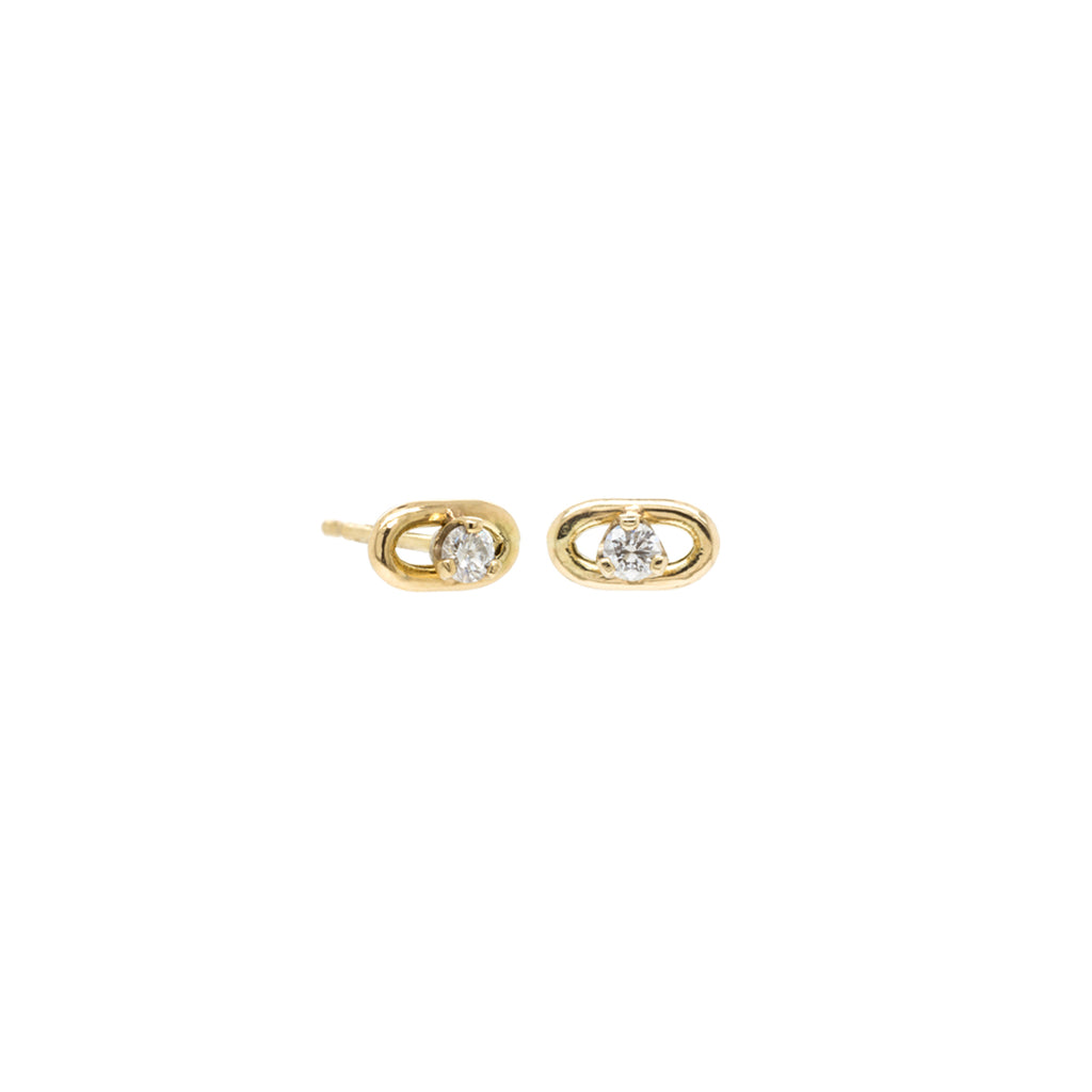 14k large oval chain stud earrings with prong diamonds