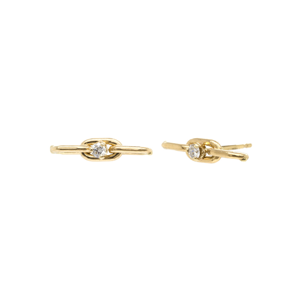14k large oval chain 3 link stud earrings with prong diamonds