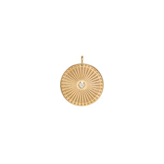 14k single large sunbeam medallion disc charm