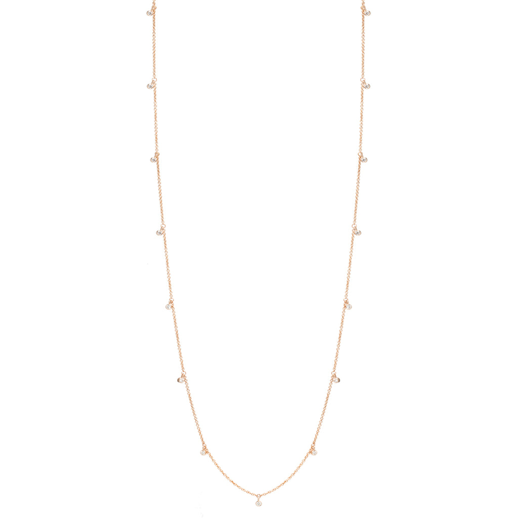 14k long 15 dangling diamond necklace