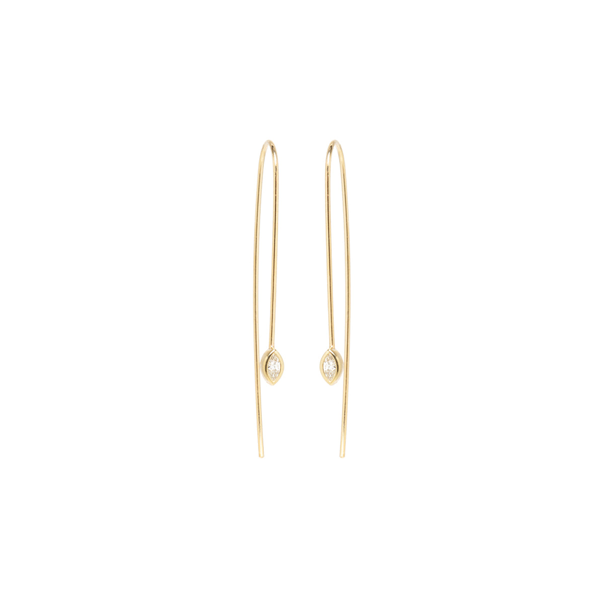 14k marquis diamond wire earrings