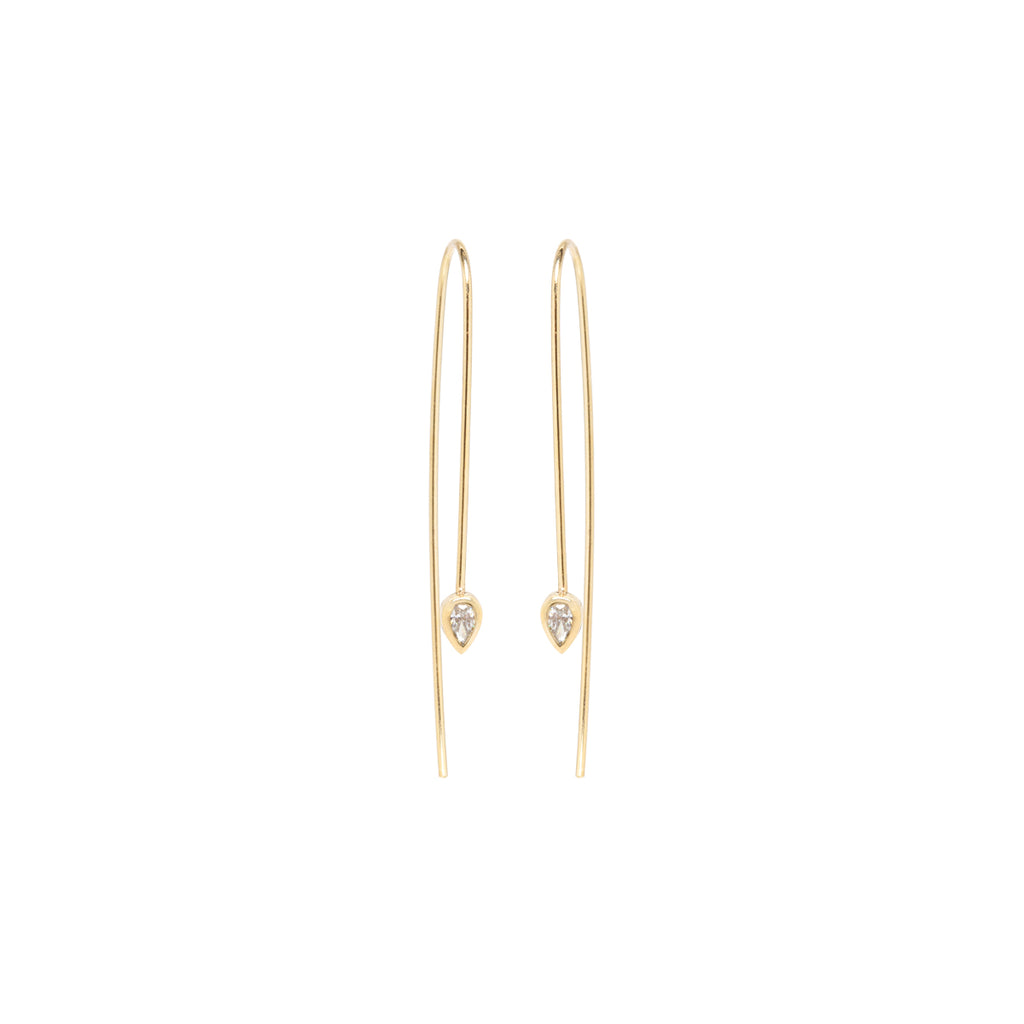 14k pear diamond wire earrings